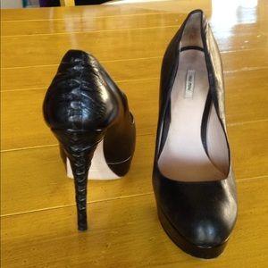 MIU MIU - Italy -Leather Heels -Size 36 1/2- 6 1/2